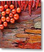 Chilli And Tomato On Rustic Background Metal Print