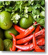 Chillies And Limes Metal Print