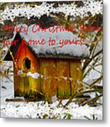Chilly Birdhouse Holiday Card Metal Print