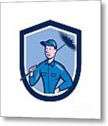 Chimney Sweep Worker Shield Cartoon Metal Print