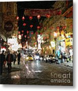 China Town At Night Metal Print