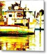 Chincoteague Boat Reflections Metal Print