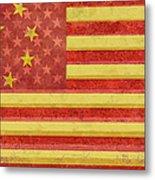 Chinese American Flag Blend Metal Print
