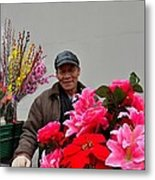 Chinese Bicycle Flower Vendor On Street Shanghai China Metal Print