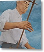 Chinese Citicen Barack Obama Is Playing Erhu A Chinese Two Stringed Musical Instrument Metal Print by Tu Guohong