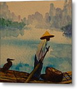 Chinese Fisherman With Commarant Metal Print
