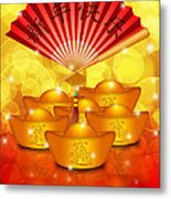 Chinese Gold Bars And Fan With Text Happy New Year Metal Print
