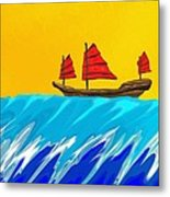 Chinese Junk And Wave Metal Print