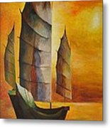 Chinese Junk In Ochre Metal Print by Tracey Harrington-Simpson