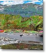 Chinese Landscape Abstract Graphic River Snow Peak Mountain Picnic Spot Skiing Raft Boat Metal Print