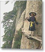 Chinese Monk Walking Along On Mountain Pathway Metal Print