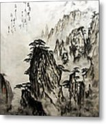 Chinese Mountains With Poem In Ink Brush Calligraphy Of Love Poem Metal Print