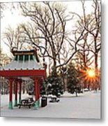 Chinese Pavilion Winter Sunrise Metal Print