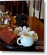 Chinese Tea Pot Cups Towel Tray And Plates Metal Print