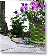 Chipmunk And Flowers Metal Print