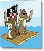 Chipmunk Pirate Dash And Scoot Metal Print