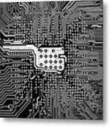Chipset Black And White Metal Print