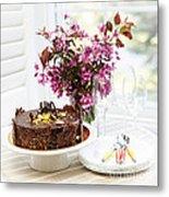 Chocolate Cake With Flowers Metal Print