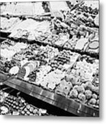 chocolates on display inside the la boqueria market in Barcelona Catalonia Spain Metal Print