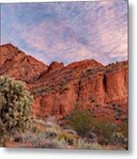 Cholla Cactus And Red Rocks At Sunrise Metal Print
