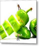 Chopping Green Peppers Little People Big Worlds Metal Print