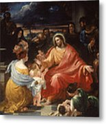 Christ Blessing The Little Children Metal Print
