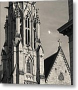 Christ Church Cathedral And Moon Metal Print