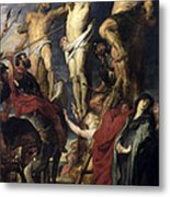 Christ On The Cross Between The Two Thieves Metal Print