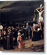 Christ On The Cross Metal Print by Mihaly Munkacsy