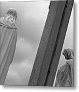 Christ On The Cross With Mourners Evansville Indiana 2008 Metal Print by John Hanou