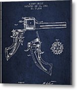 Christ Revolver Patent Drawing From 1866 - Navy Blue Metal Print