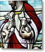 Christ The Good Shepherd With His Flock Metal Print