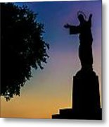 Christ Welcomes Darkness At Sunset Metal Print