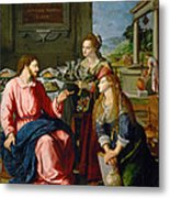 Christ With Mary And Martha Metal Print