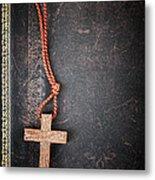Christian Cross On Bible Metal Print