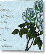 Christian Wedding Invitation With Roses Metal Print