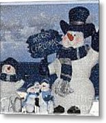 Christmas - Snowmen Collection - Family - Peace - Snow Metal Print