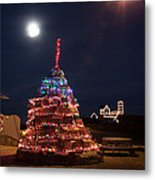 Christmas At Maines Nubble Lighthouse Metal Print