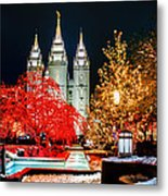 Christmas At Temple Square Metal Print