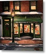 Christmas At The Bookstore Of Gloucester Metal Print