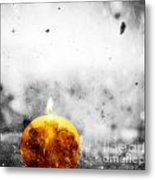 Christmas Ball Candle Lights On Winter Background Metal Print