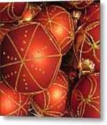 Christmas Balls In Red And Gold Metal Print
