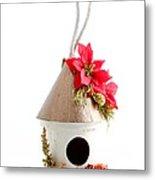 Christmas Bird House Metal Print