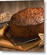 Christmas Cake With Knife Metal Print