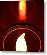 Christmas Candle Reflection Metal Print