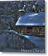 Christmas Card Moonlight On Stone House Metal Print