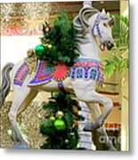 Christmas Carousel Horse With Pine Branch Metal Print