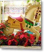 Christmas Carousel Horse With Poinsettias Metal Print
