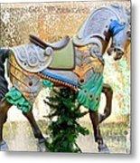 Christmas Carousel Warrior Horse-1 Metal Print