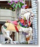Christmas Carousel White Horse Metal Print